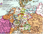 1547 AD German Reich Karel V. von Falken moves in 1555 (Peace of Augsburg) to Sachsen and Earldom Mark (Hamm)